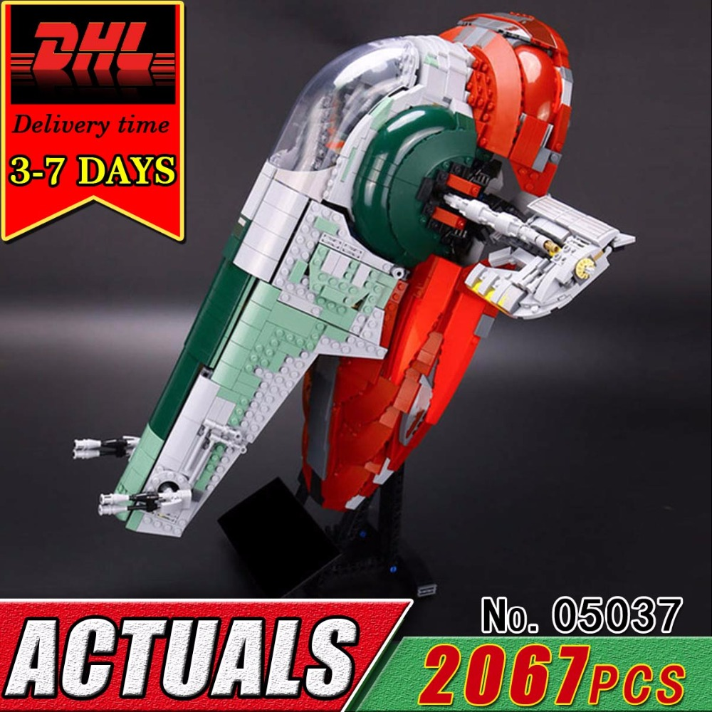 DHL LEPIN 05037 Star Series UCS The Slave 1 Model Set Compatible 75060 Building Blocks Bricks Military War Educational Toy Child new 05037 star 2067pcs series wars ucs slave i slave no 1 model building lepin block bricks toys kits gifts compatible 75060