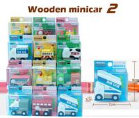 12 Pcs Children Educational Wood Toys Vehicle Japan Export High Quality Mini Wooden Cars Free Shipping