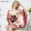 Dower Me Big Size Dress Nightgowns Sleepshirts 2016 Plus Size Silk Lady Sleepwear Dressing Gown Female Home Sleepwear Piijamas