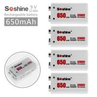 4pcs/set Soshine 6F22 9V 650mAh Li ion Lithium Rechargeable Battery for Electronic Smoke Guitar
