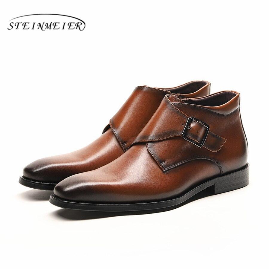 Męskie buty zimowe oryginalne skóra bydlęca chelsea buty brogue casual kostki płaskie buty wygodne jakości miękkie 2019 brązowy czarny w Podstawowe buty od Buty na  Grupa 3
