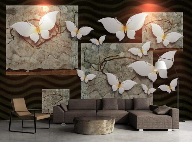 3D Stereoskopische Tapete Vintage Schmetterling Luxus Schlafzimmer  Wohnzimmer Dekoration Wallpaper Für Wände 3D, Papel De