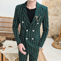 2019 Prom Tuxedo Green Suits Mens Striped Mens Suits with Pants Dj Nightclub Singer Dress Mens Designer Suits for Party Slim Fit