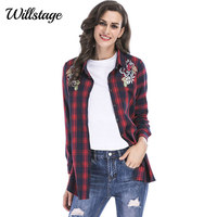 Willstage Plus Size 5XL Shirts Women Red Plaid Blouse Long Sleeve Open Stitch Casual Floral Embroidery