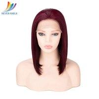 Sevengirls Glueless 99J Малайзии Прямые локоны парики шнурка предварительно выщипать короткие Боб Cut человека Синтетические волосы на кружеве парик Б