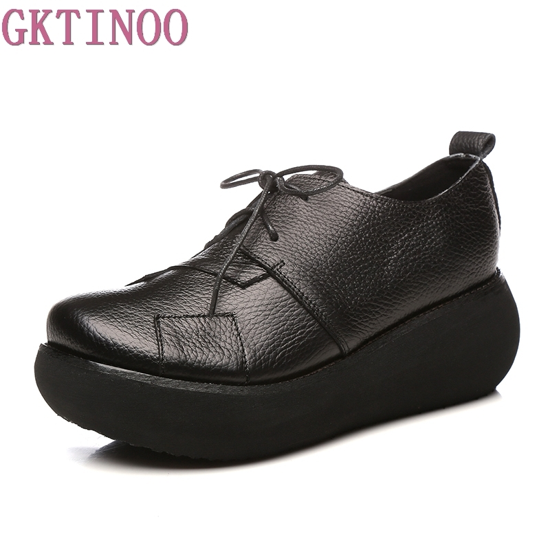 GKTINOO Women Genuine Leather Shoes Spring 2018 Casual Shoes Lace Up 6CM High Heels Wedge Shoes Rero Handmade Women Pumps ...