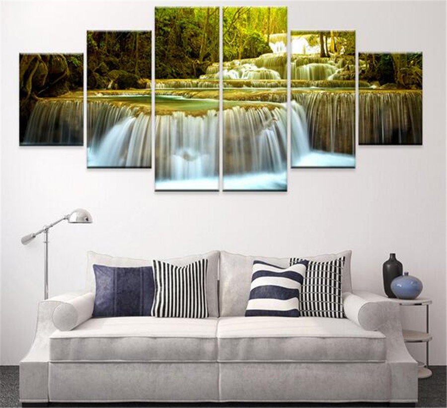 Canvas Oil Painting Decoracion Multi Panel 6 Piece Wall Art Pictures  Decorativos Modern Photos No Frames Canvas Abstract In Painting U0026  Calligraphy From Home ...