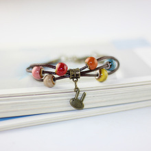 Flower Heart Ceramic Colorful Beads Bracelet Women Men Fashion Jewelry Weave Chain Cuff Bangle Wristbands Bohemian Accessories