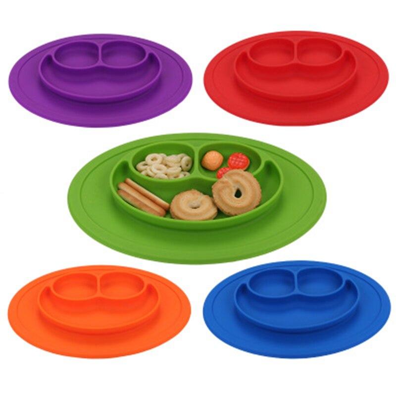 Ideacherry bebé elipse silicona alimentación plato bandeja platos soporte para bebés niños pequeños niños Mulit-color mantel platos