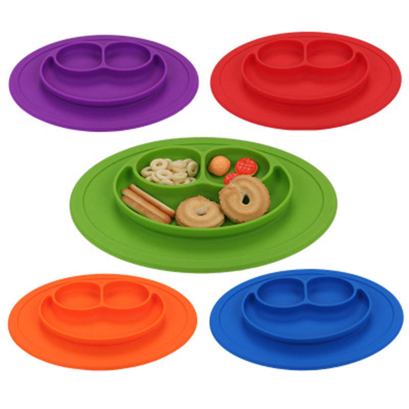 ideacherry Baby Ellipse Silicone Feeding Food Plate Tray Dishes Holder for Infants Toddlers Children Mulit color