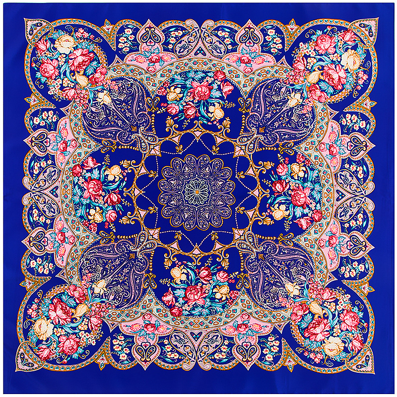 100% Silk   Scarf   Women Bohemia Geometric Flowers Printing Bandana Square   Scarves     Wraps   Female Foulard Silk Hijab Lady Bufandas