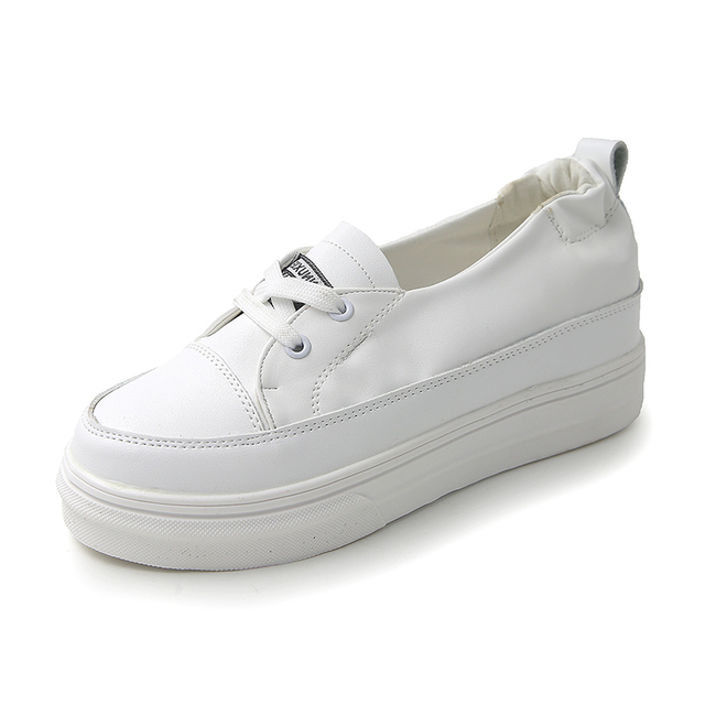 ... bc8fe 85107 2018 Female Flat Platform White Colour Casual Shoes Women  Flat Platform Lace-up ... 7438f1735