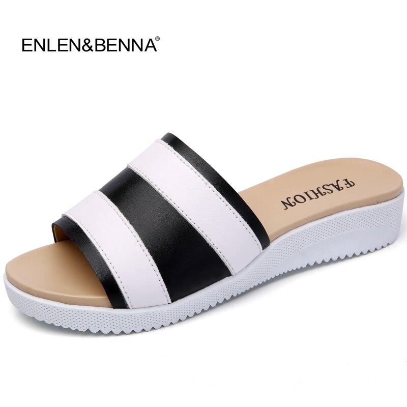 New Arrival 2018 solid women sandals summer slippers flip flops Genuine Leather flat sandals lady slip on flats Heels shoe woman стоимость