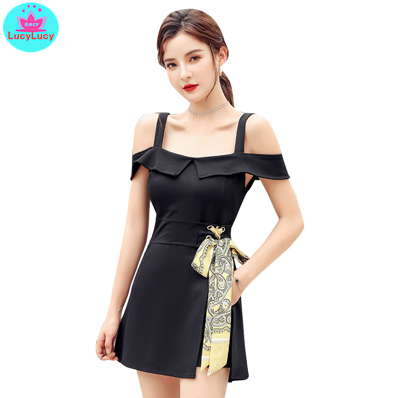 2019 summer new Korean ladies dress straps slim fashion shorts two piece suit Slash neck Office Lady Drawstring Shorts in Women 39 s Sets from Women 39 s Clothing