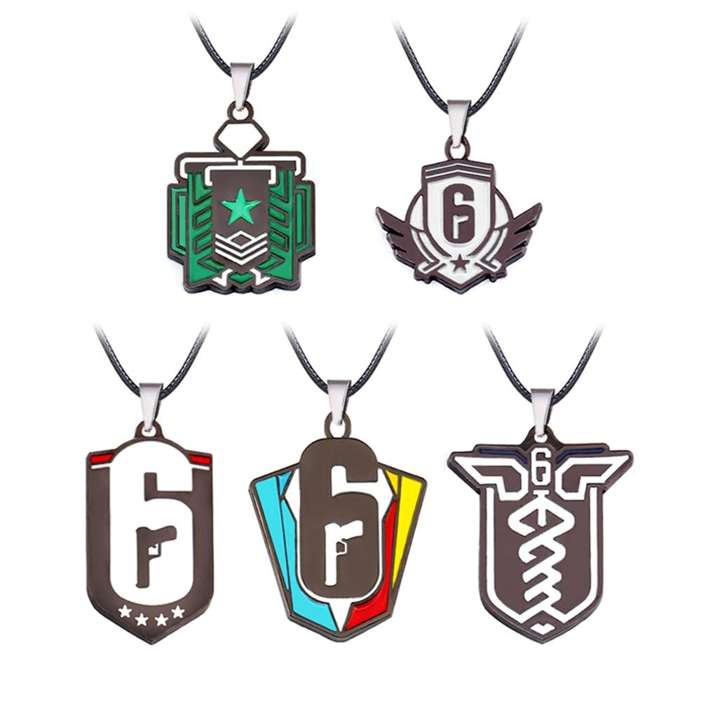 HSIC Game Tom Clancys Rainbow Six Siege Necklace Invitational 6 Logo Colorful Pendant Necklace Friendship Accessories HC12803