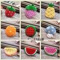 Varejo meninas frutas coin bolsas crianças Plush Morango Melancia senhoras carteira pequena chave saco caso Os Titulares de Cartão de bolsa das mulheres