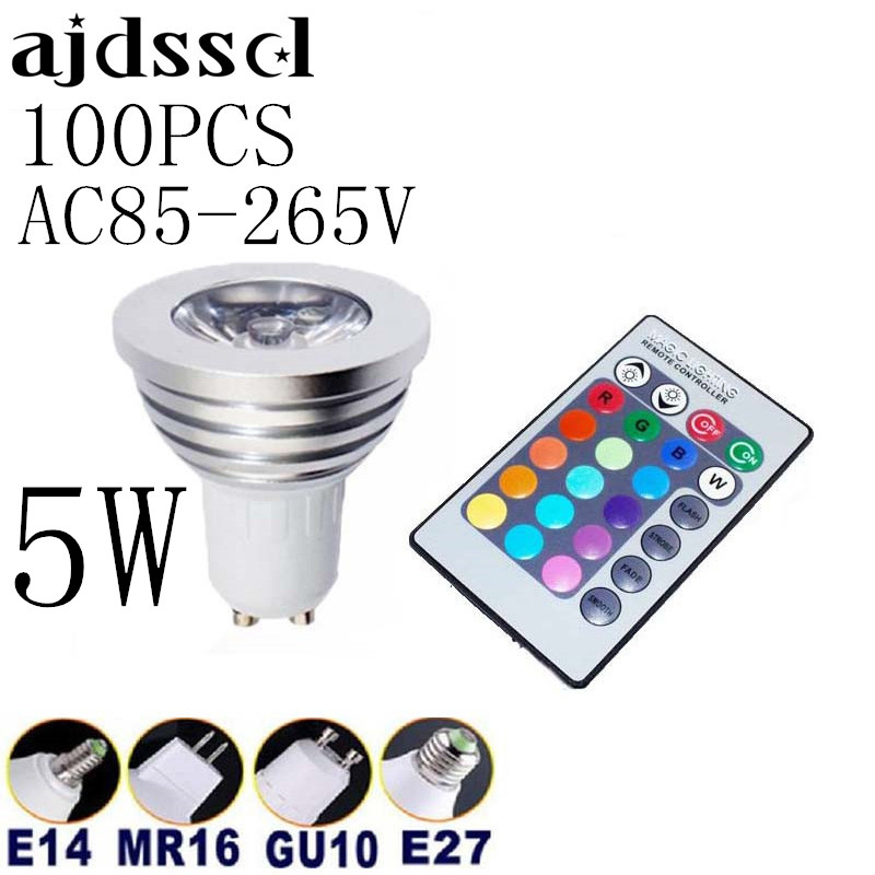 Free shipping 100pcs Energy Saving 5w GU10 E27 E14 B22 AC 85-265V MR16 12V RGB LED Bulb Lamp light Color changing IR Remote