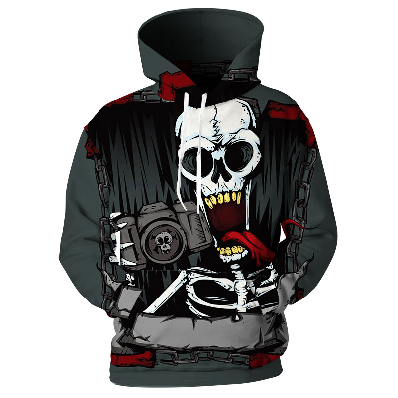 New Design Men Skull Hoodies Camera Zombie