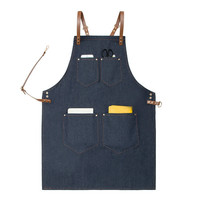 High Quality Unisex Denim Bib Cowboy Antifouling Leather Apron Barber Shop Kitchen Chef BBQ Cook Hairdresser Tools Denim Apron