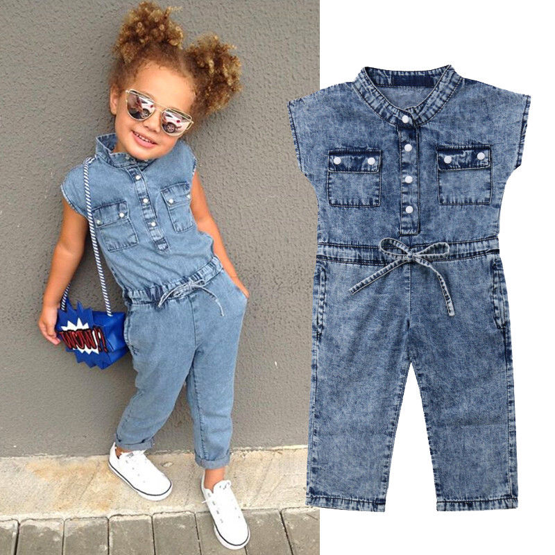 IMCUTE Toddler Kids Girls Denim Jumpsuit Playsuit Overalls Outfits Children's Costume Clothes Summer