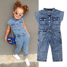 Милый джинсовый комбинезон для маленьких девочек, комбинезон для подвижных игр, Детский костюм, летняя одежда