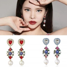 MENGJIQIAO New Korean TV Star Vintage Heart Crystal Earrings For Women Rhinestone Simulated Pearl Party Pendientes Jewelry