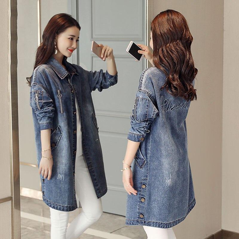 Long Survêtement Manteaux Denim breasted Moyen Femmes Mode Printemps Mince Blue Jia12 Décontracté Nouvelles Feminina Single 2019 Veste Automne De 0HqRnw