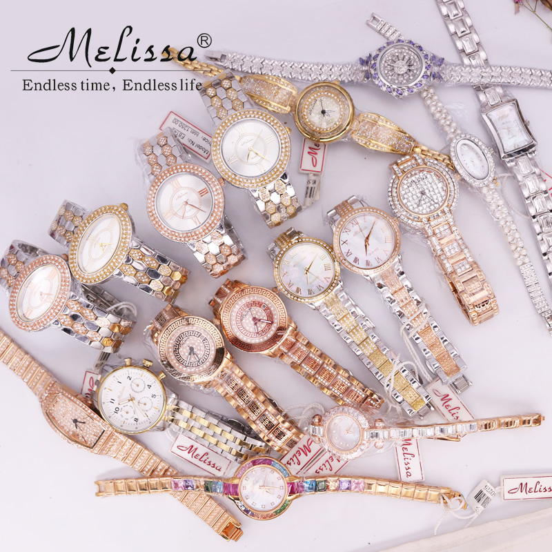 SALE!!! Discount Melissa Crystal Rhinestones Lady Men's Women's Watch Japan Mov't Fashion Hours Metal Bracelet Girl's Gift Box