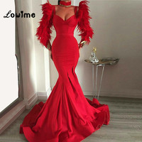 Arabic Red Feathers Evening Dresses 2018 Slim Mermaid African Party Gown Long Sleeves Prom Dresses Vestido De Festa Longo New