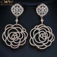 إعداد cwwzircons أعلى جودة زركون 7 سنتيمتر الكبير روز لون الذهب الأقراط الطويلة انخفاض زهرة شكل مجوهرات النساء الفاخرة CZ331