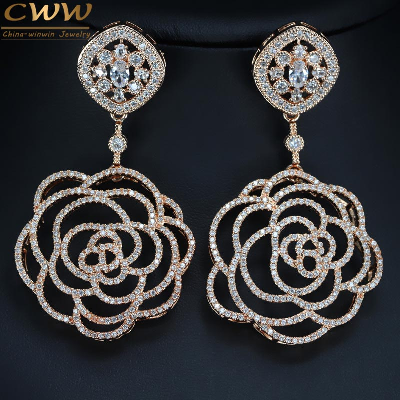 CWWZircons Top Quality Cubic Zirconia Setting 7cm Big Rose Gold Color Earrings Long Drop Flower Shape Women Luxury Jewelry CZ331