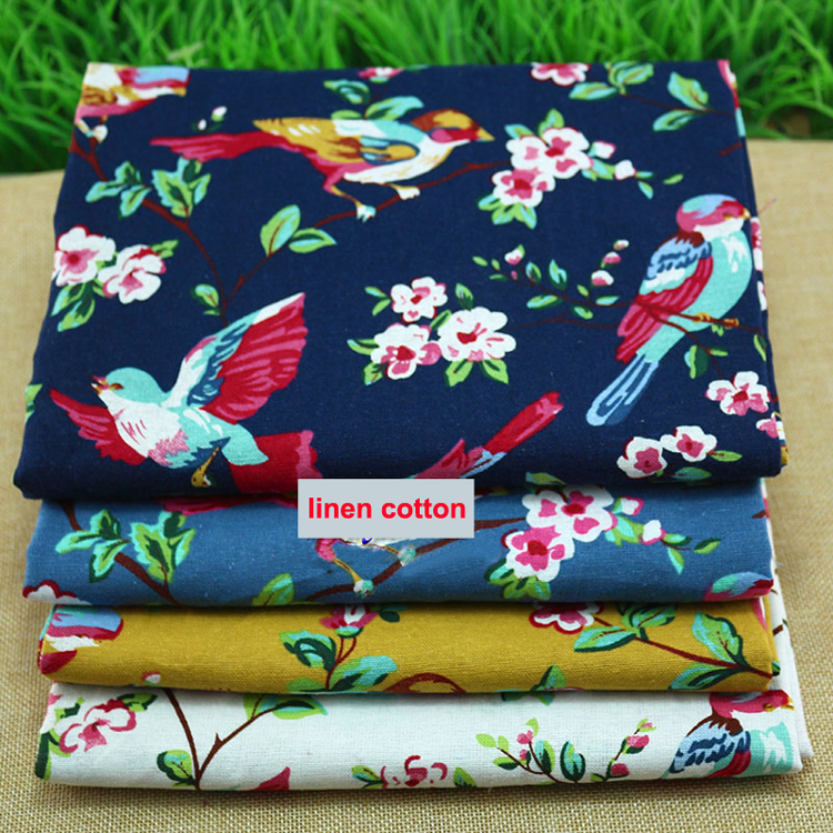 100cm*140cm Birds Floral Linen Material Cotton Linen Cloth Textiles Patchwork Chinese Ethnic Dress Fabric