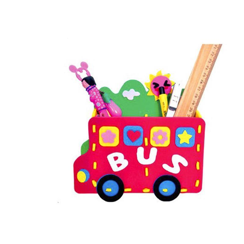 Creave 3D Puzzle DIY Handmade Pencil Vase Creative Educational Toys Cartoon Gift for Children Kids Craft Random