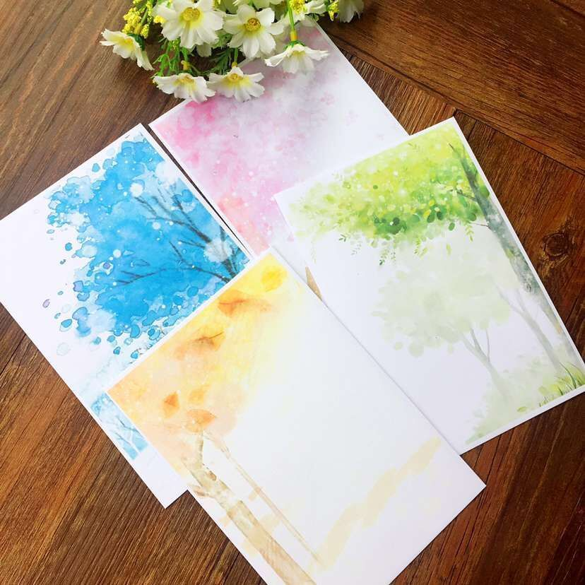 50 Pcs/lot  17.5*12cm Quaint Fresh And Beautiful Four Seasons Japanese Style Romantic Invitations Wedding Envelope Vintage Paper