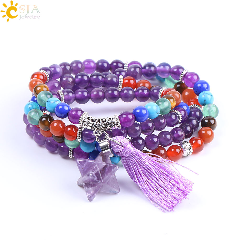 CSJA Natural Gem Stone Amethystine Bracelets Purple Crystal Tassel Rainbow 7 Chakra Beads Wrap Bracelet Meditation Jewelry F210