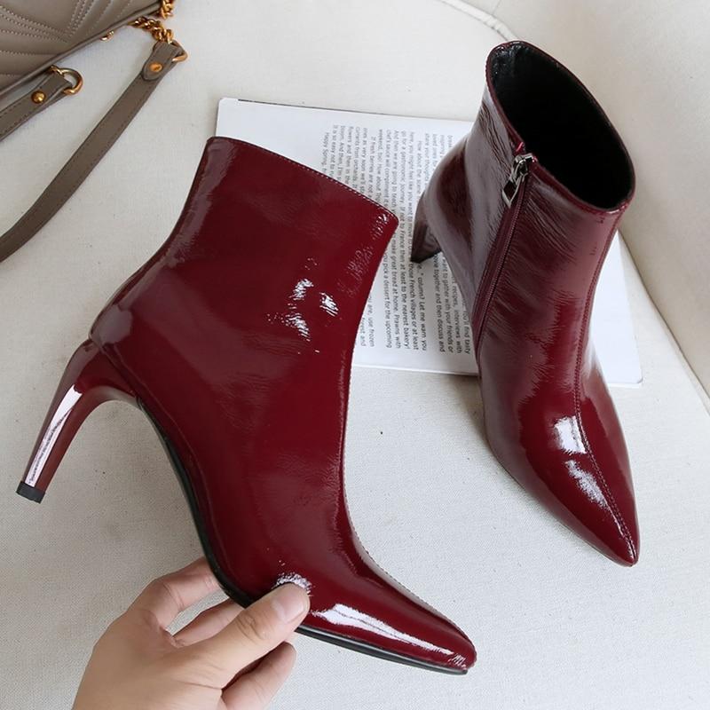 Talons 1 Parti Martin De Mariage Sexy Dames Femme Bottes Hauts Chaussures Hiver Bout Cheville Qualité Automne Pointu Noir Stylesowner USqBxAE7