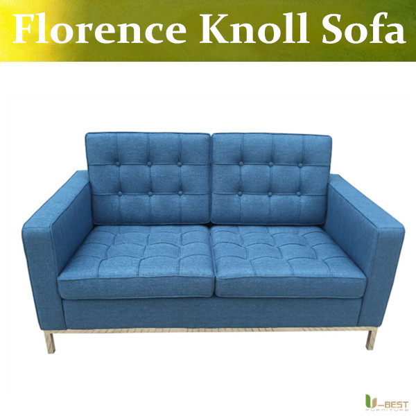 U-BEST florence knoll style love seat blue sofa,Reproduction of fabric two Seat Sofa,linen Cashmere Sofas & Couches