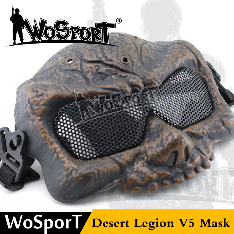 WoSporT Outdoor Desert Legion Corps V5 Half Face Skull Hunter Tactical Metal Protective Mask For War Game CS Airsoft Paintball