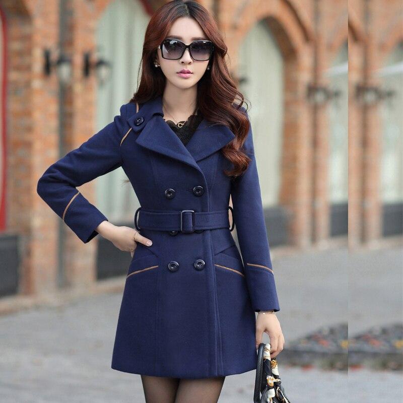 Bleu Outwear bourgogne Femmes marine Poches rouge Boutonnage kaki Laine À Élégant Mince Long Tranchée Manteau Noir Double Hiver Solide Femelle 17wSU7