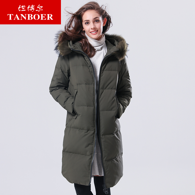 TANBOER Women's   Down   Jackets Female Long Hooded   down     coats   Fashion Slim Thin winter Jackets overcoats with fur collar TB17678