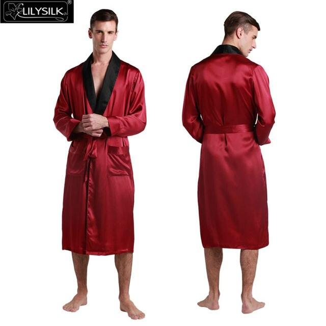 Lilysilk халат мужской 22 Momme черный воротник с длинным рукавом шелковый халат японские кимоно для сна