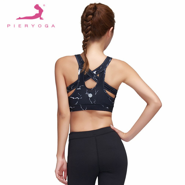 ac7d6b1bd5c PIERYOGA Sexy Womens Back Cross Yoga Push Up Sports Bra Gym Running Padded  Bras Breathable Mesh Shockproof Sport Yoga Bra Tops
