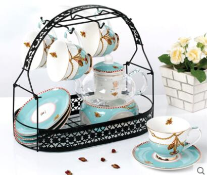 Household ceramic candle heating thickened glass teapot teacup flower and fruit tea set free shipping