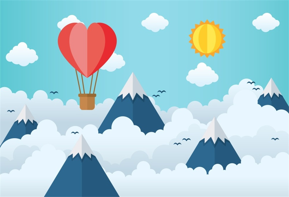 3b56775d0b Laeacco Love Hot Air Balloon Mountains Baby Newborn Photography Backgrounds  Customized Photographic Backdrops For Photo Studio-in Background from  Consumer ...