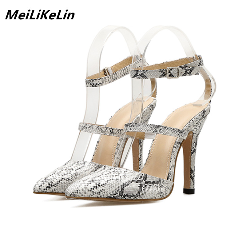 e2db991c1bff53 MeiLiKeLin Snake Skin Women Belt Pumps pointed high sandals buckle women  heels ankle belts shoes ladies high heel party shoes -in Women s Pumps from  Shoes ...