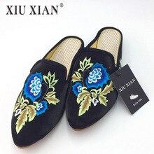 Плюс размеры 35–43 2017 роскошные женские Комнатные шлепанцы острый носок меховые шлепанцы Вышивка Половина бархатные Тапочки цветок Мула обувь mujers