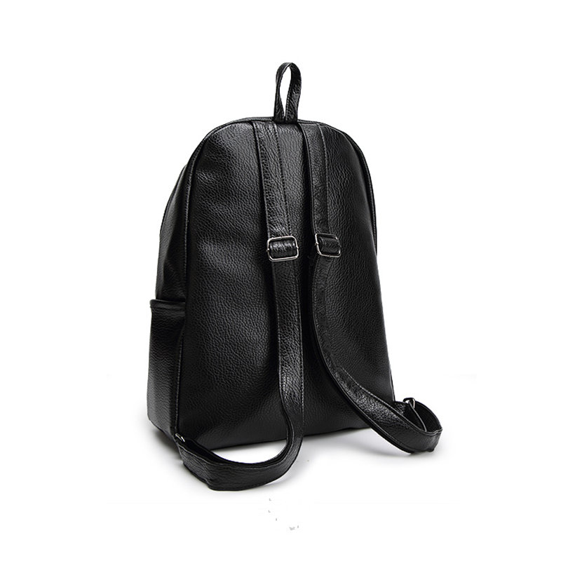 875318239a83 New Travel Backpack Feminine Korean Women Fashion Backpack Leisure Student  Schoolbag Black Soft PU Leather Women Bag  14Ba31 9 2-in Backpacks from  Luggage ...