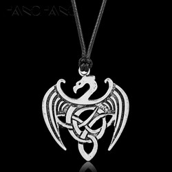 Norse Viking Jewelry Gothic Irish Knot Dragon Necklace Leather Rope Pendants Necklaces