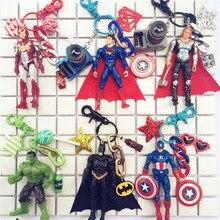 все цены на USA Marvel DC Superhero Keychain Iron Man Captain America Thor Hulk Superman Batman Action Figures Keyrings Dolls Key Chain Ring онлайн
