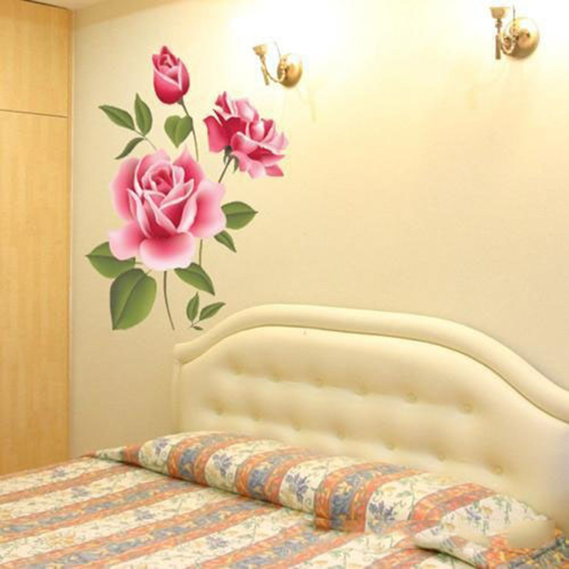 Details about Pink Rose Flower Decal Magnolia Art DIY Wall Sticker ...